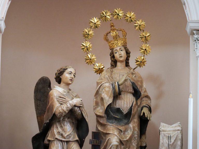 Dettaglio gruppo marmoreo del 1543 raffigurante la vergine annunziata e l'arcangelo Gabriele, opera Antonino Gagini